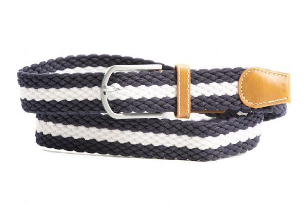 Euro-Star Platted Belt in Navy and White